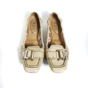Tod's Nude Driving Ballet Flats with Buckle Detail